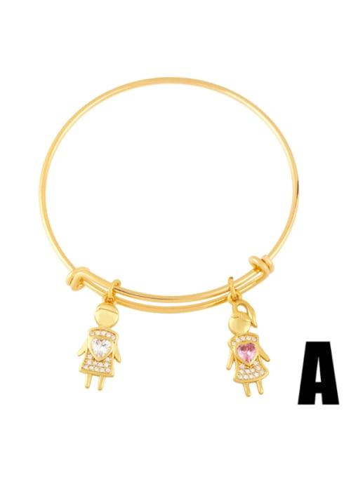 CC Brass Cubic Zirconia Irregular Vintage Adjustable Bracelet