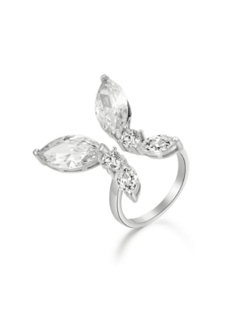 Boomer Cat 925 Sterling Silver Cubic Zirconia Butterfly Luxury Band Ring 0