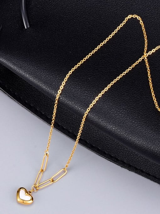 A TEEM Titanium Shell Heart Minimalist Necklace 3