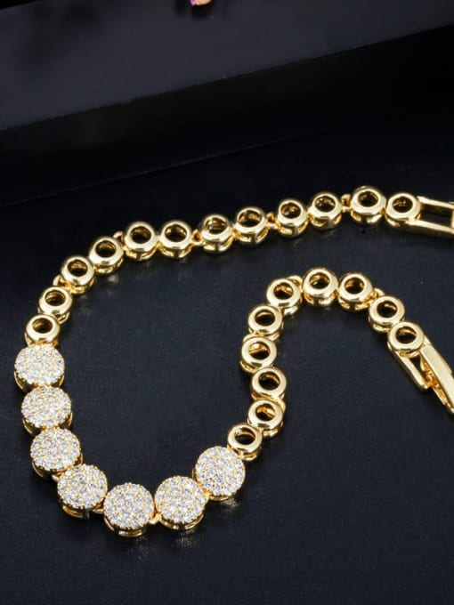 L.WIN Brass Cubic Zirconia Luxury Geometric  Bangle Earring and Necklace Set 2
