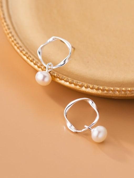 Rosh 925 Sterling Silver Imitation Pearl Geometric Minimalist Drop Earring 0