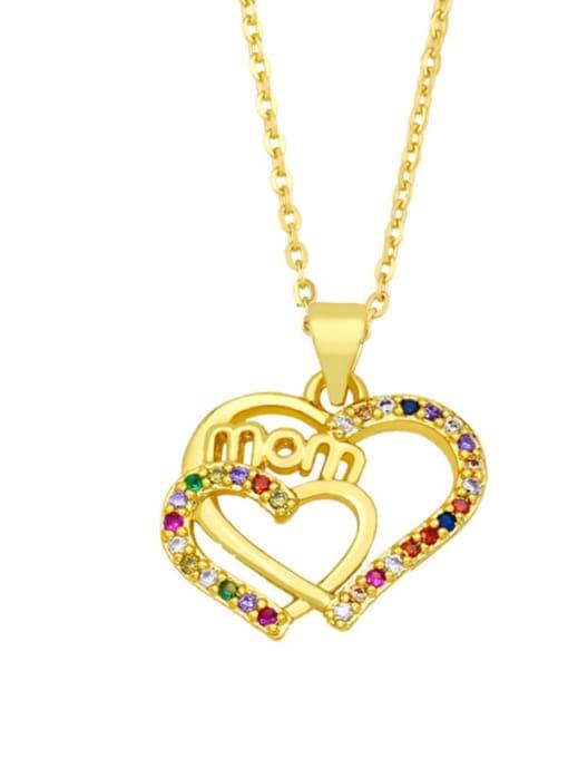 D Brass Cubic Zirconia Hollow Heart Vintage Necklace