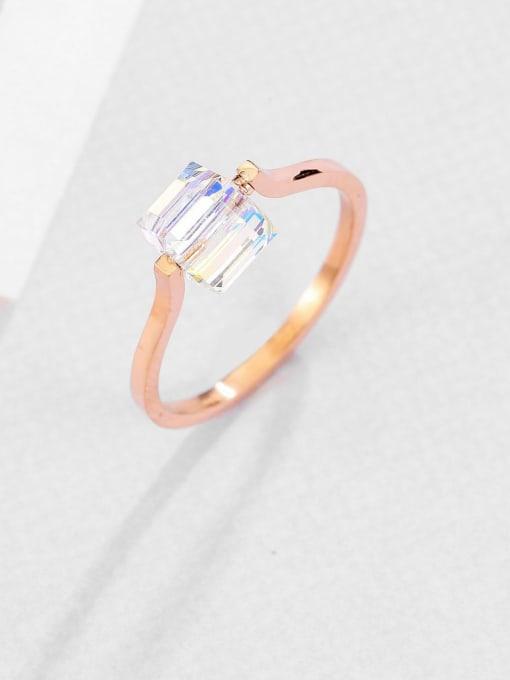 MIYA Titanium Steel Cubic Zirconia Square Minimalist Band Ring 1