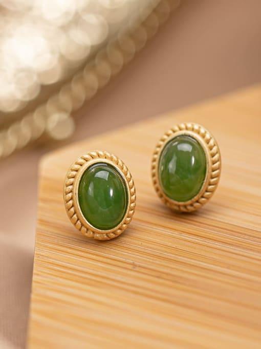 DEER 925 Sterling Silver Jade Oval Vintage Stud Earring 2