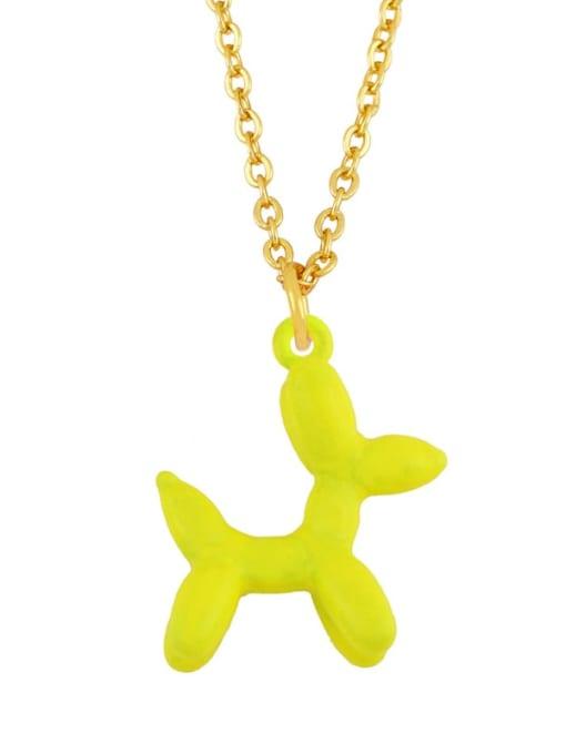yellow Brass Enamel Cute Dog Pendant Necklace