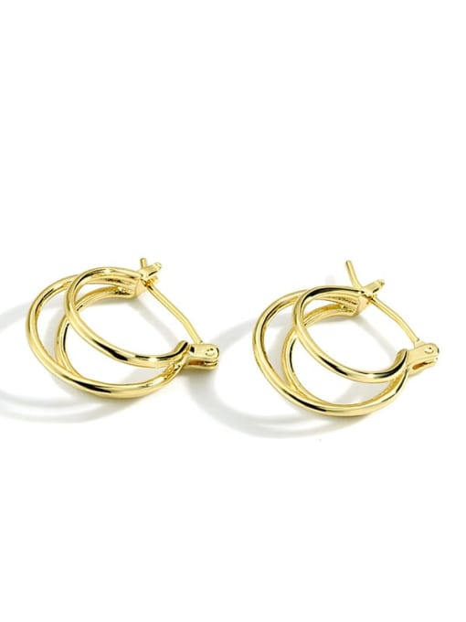 Gold Earrings Brass Irregular Minimalist Huggie Earring