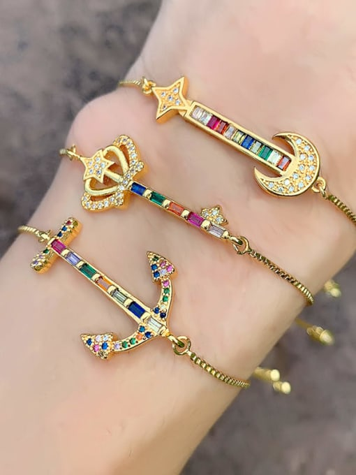 CC Brass Cubic Zirconia Crown Ethnic Adjustable Bracelet 1