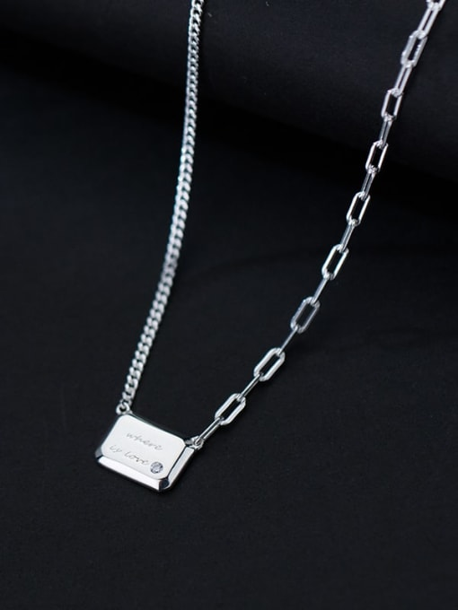 Rosh 925 Sterling Silver Geometric Letter Minimalist Necklace