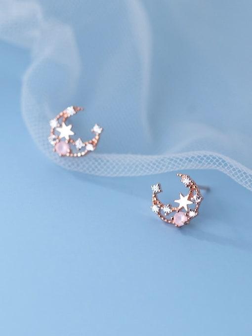 Rosh 925 Sterling Silver Cubic Zirconia Moon Cute Stud Earring 3