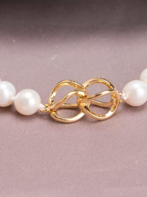 RAIN Brass Freshwater Pearl Round Minimalist Long Strand Necklace 3