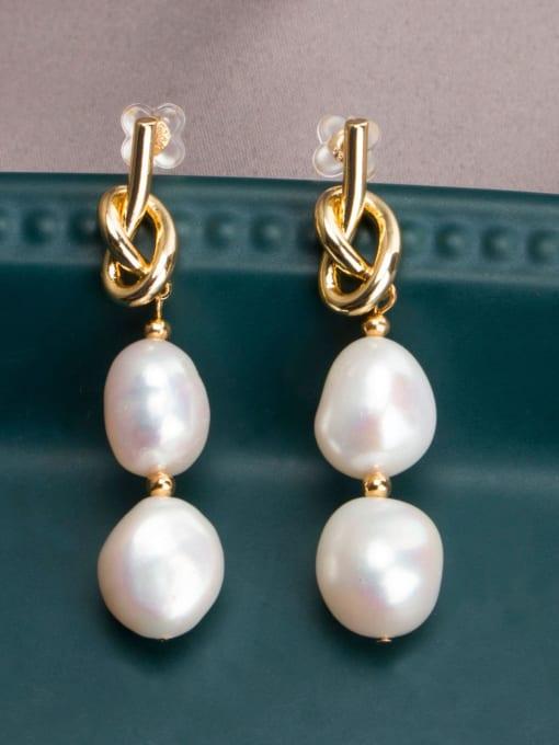 RAIN Brass Freshwater Pearl Geometric Minimalist Drop Earring 2