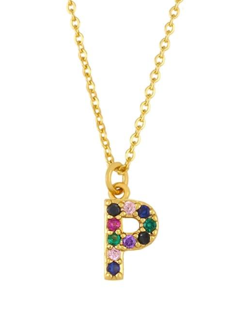 P Brass Cubic Zirconia Letter Vintage Necklace