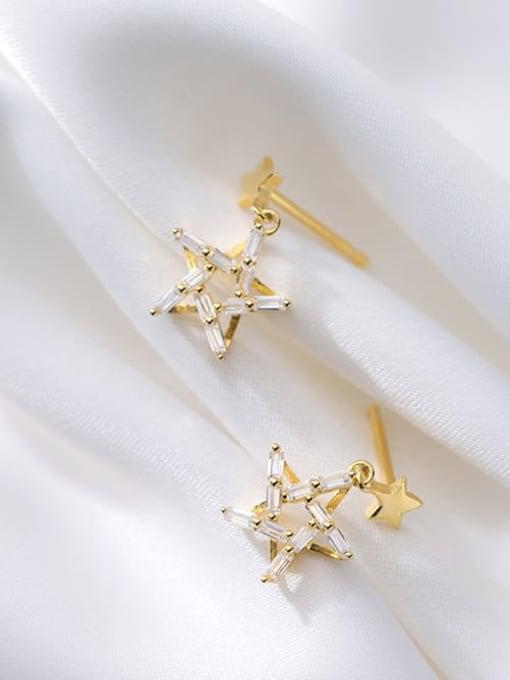 Rosh 925 Sterling Silver Cubic Zirconia Star Minimalist Drop Earring 1