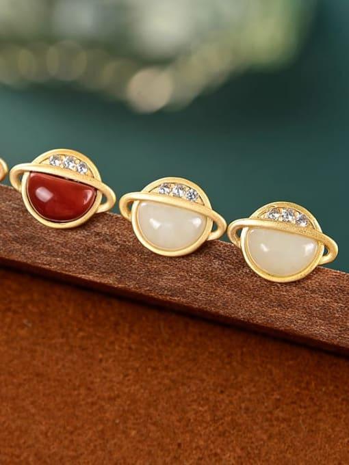 DEER 925 Sterling Silver Jade Star Vintage Stud Earring
