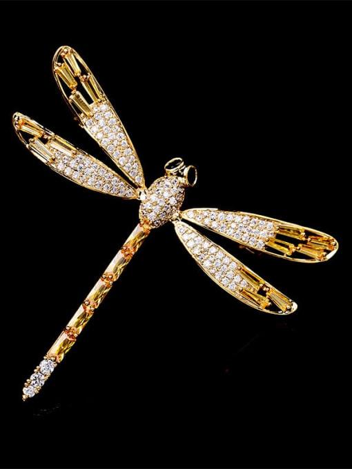 Golden yellow zirconium Brass Cubic Zirconia Dragonfly Minimalist Brooch