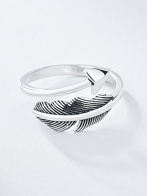 XBOX 925 Sterling Silver Feather Vintage Band Ring 3