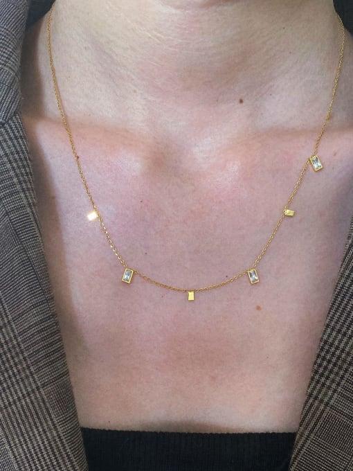 LI MUMU Titanium Steel Cubic Zirconia Geometric Minimalist Multi Strand Necklace 1