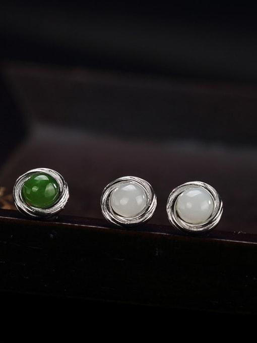 DEER 925 Sterling Silver Jade Geometric Cute Stud Earring