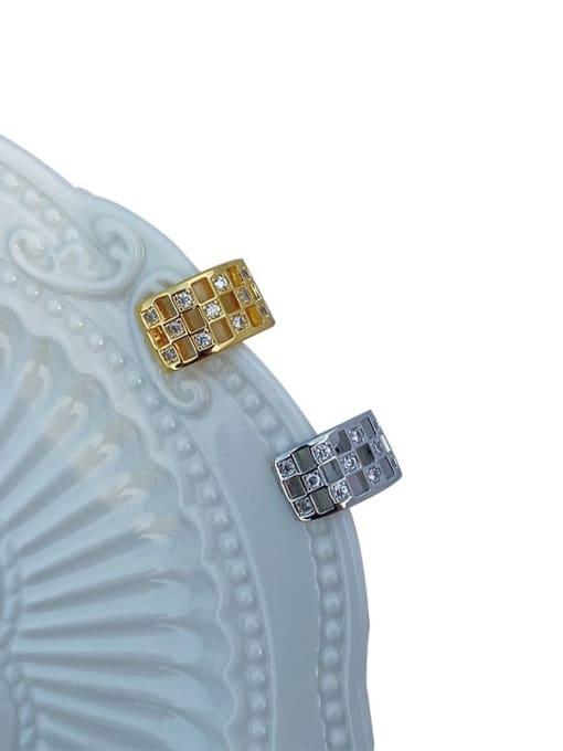 LI MUMU Brass Rhinestone Geometric Vintage Stud Earring 0