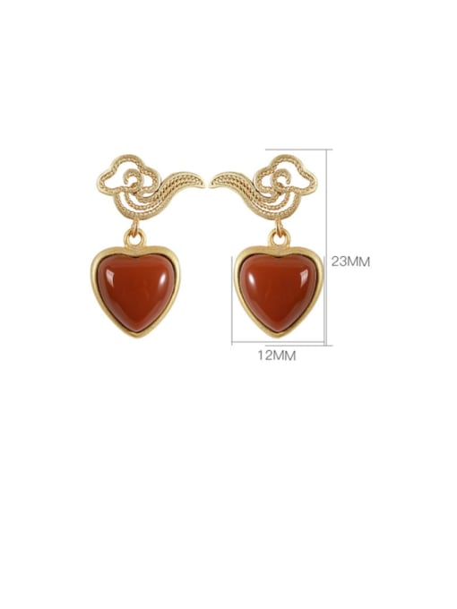DEER 925 Sterling Silver Carnelian Heart Minimalist Drop Earring 2