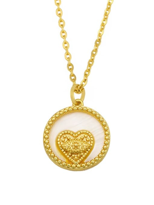 heart Brass Cubic Zirconia Heart Hip Hop Necklace