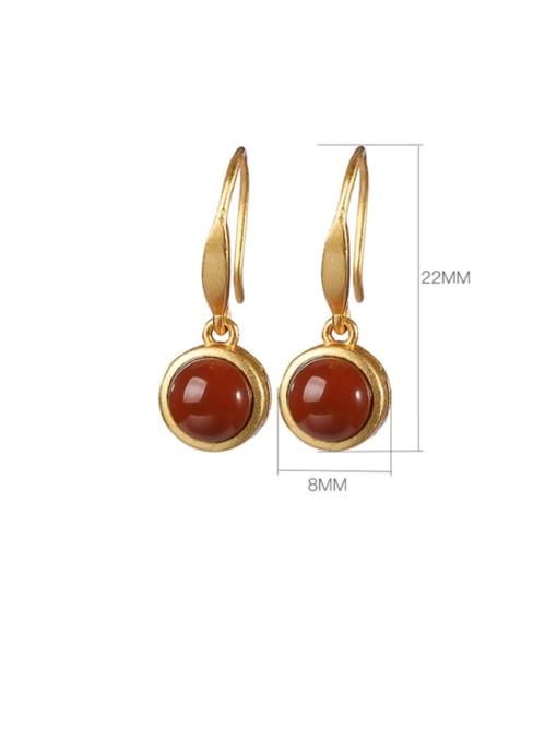 DEER 925 Sterling Silver Carnelian Round Vintage Hook Earring 3