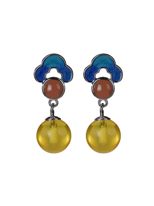 DEER 925 Sterling Silver Jade Flower Vintage Drop Earring 0