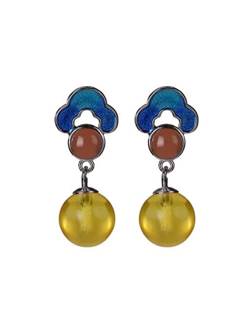 DEER 925 Sterling Silver Jade Flower Vintage Drop Earring