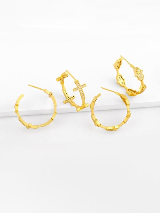 CC Brass Cubic Zirconia Cross Vintage Stud Earring