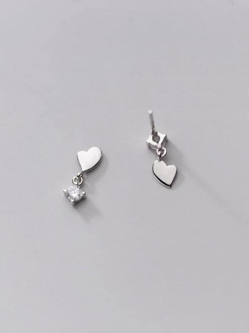 Rosh 925 Sterling Silver Cubic Zirconia Asymmetry Heart Minimalist Stud Earring 4