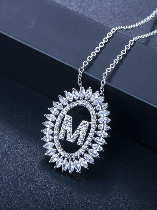 Letter M Brass Cubic Zirconia Geometric Luxury Letter pendant Necklace