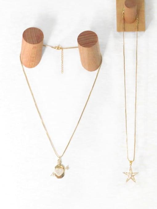 CC Brass Cubic Zirconia Star Hip Hop Necklace 2
