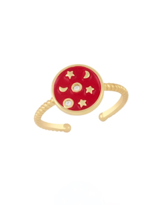 red Brass Enamel Star Vintage Band Ring