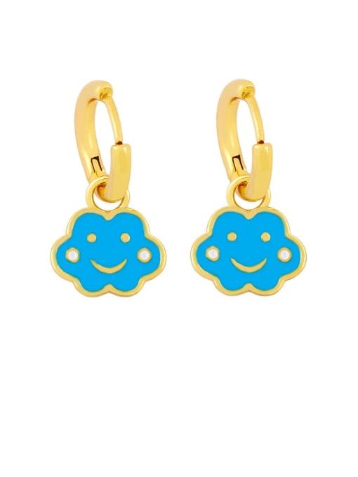 blue Brass Enamel Cloud Hip Hop Huggie Earring