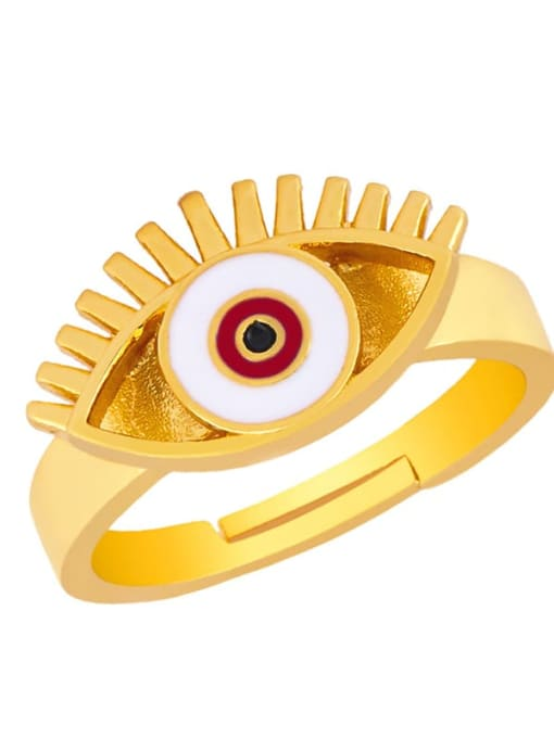 gules Brass Enamel Evil Eye Vintage Band Ring