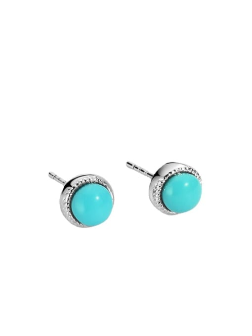 CHARME Brass Turquoise Geometric Vintage Stud Earring 3
