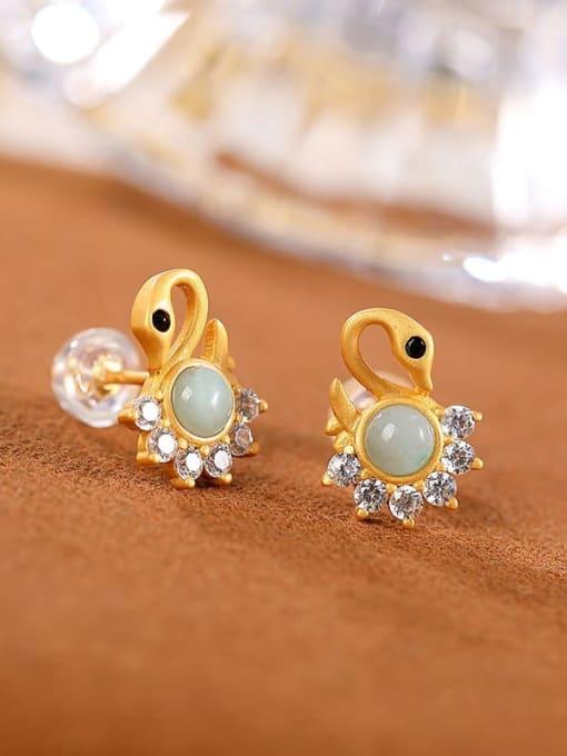 DEER 925 Sterling Silver Jade Swan Cute Stud Earring