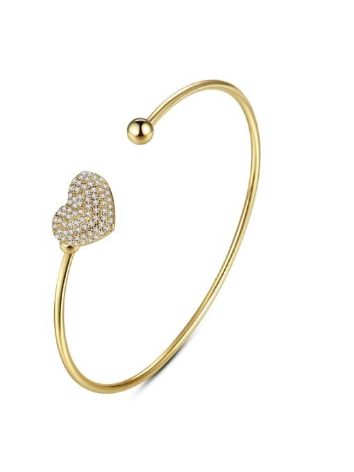 YTB 004 Brass Cubic Zirconia Heart Minimalist Cuff Bangle