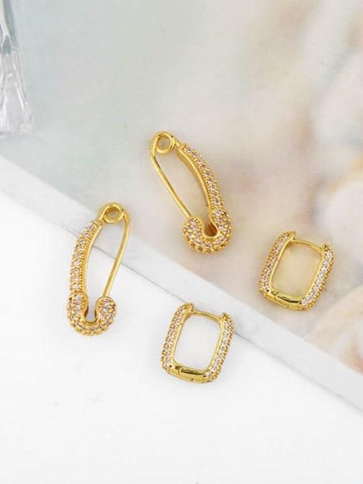 CC Brass Cubic Zirconia Geometric Trend Huggie Earring 3