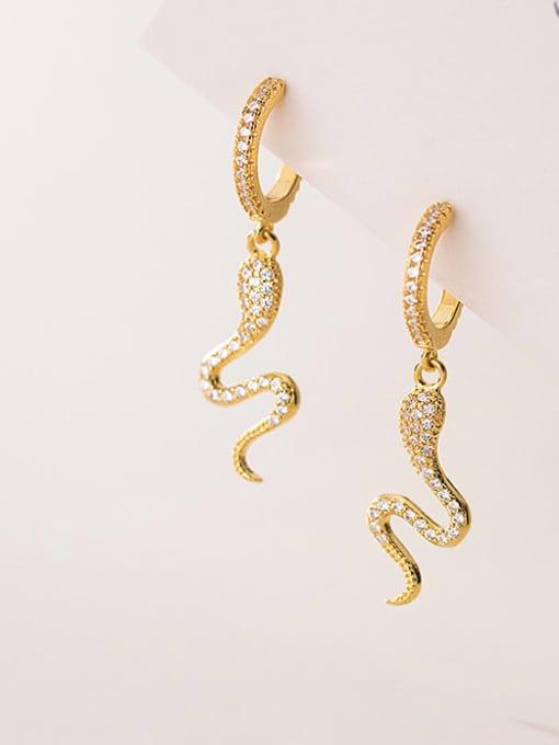Rosh 925 Sterling Silver Cubic Zirconia Snake Ethnic Drop Earring
