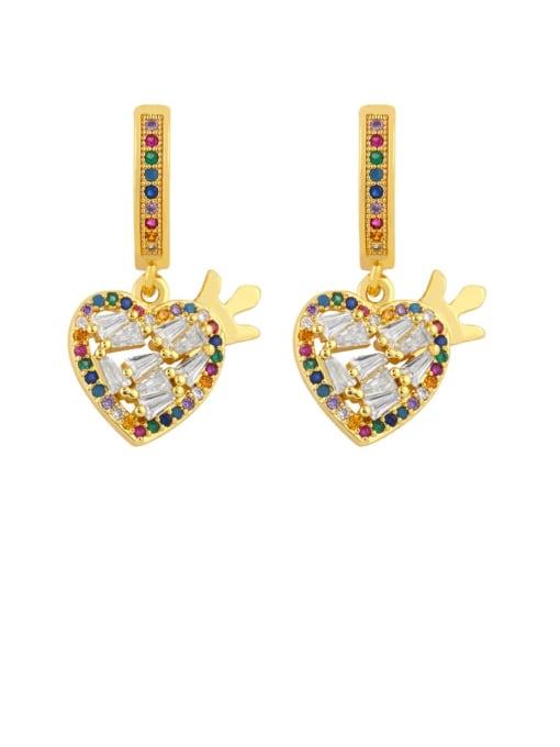 heart-shaped Brass Cubic Zirconia Heart Vintage Drop Earring