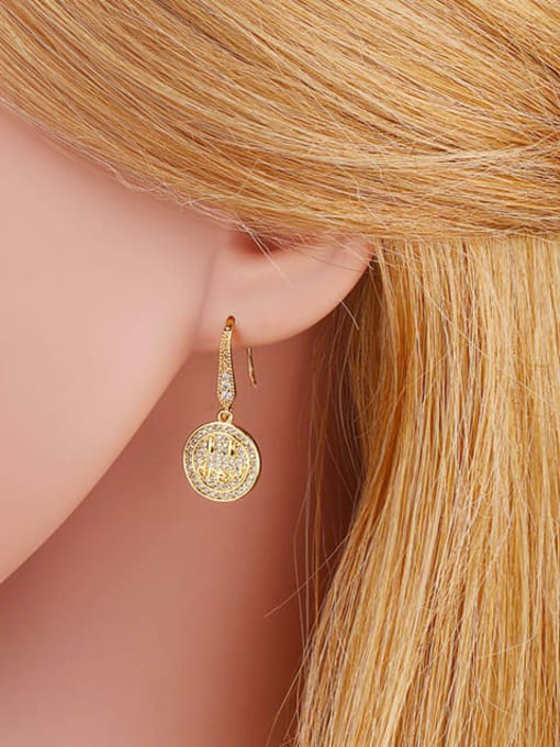 CC Brass Cubic Zirconia Round Hip Hop Hook Earring 4