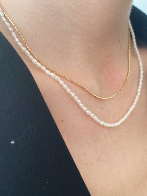LI MUMU Titanium Steel Imitation Pearl Geometric Minimalist Necklace