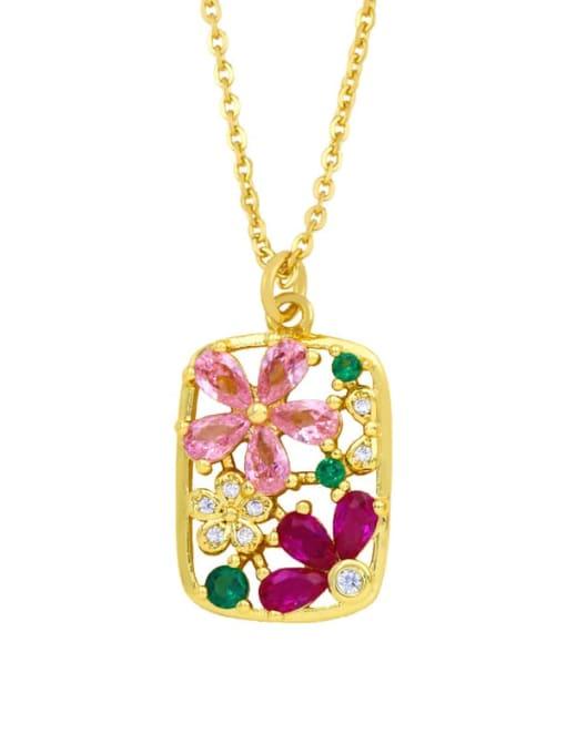 CC Brass Cubic Zirconia Flower Hip Hop Necklace 1