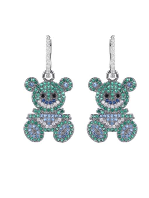 Luxu Brass Cubic Zirconia Bear Cute Huggie Earring 2