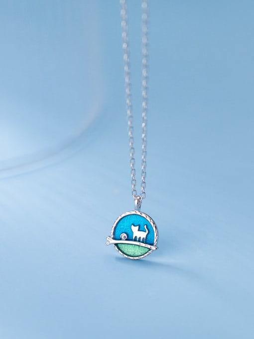 Rosh 925 Sterling Silver Enamel Round Minimalist Necklace