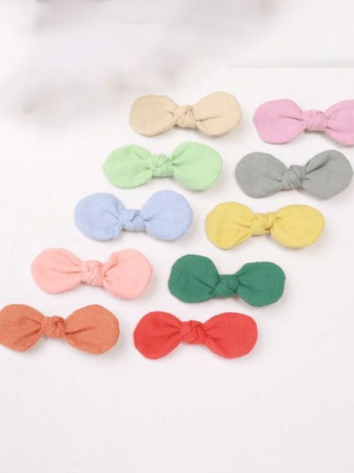 YOKI KIDS Alloy Fabric Minimalist Bowknot  Multi Color Hair Barrette 2