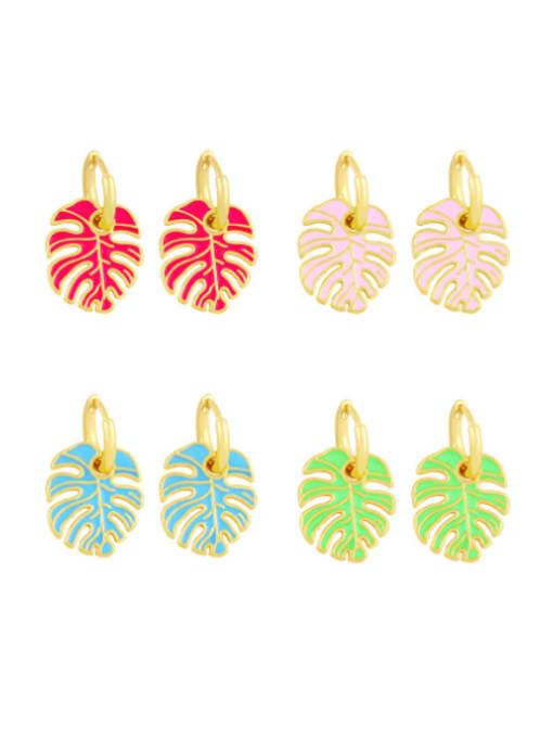 CC Brass Enamel Tree  Leaf  Vintage Huggie Earring
