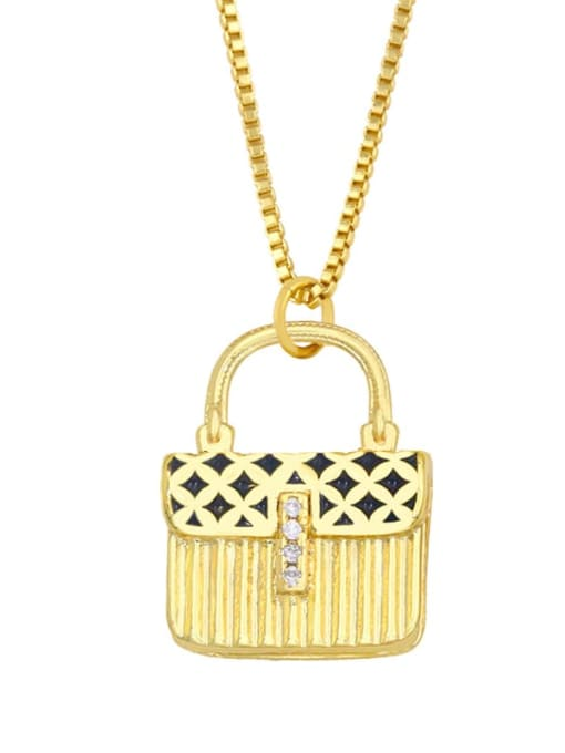 black Brass Cubic Zirconia Enamel Geometric Minimalist Necklace