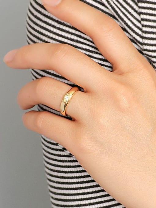 CHARME Brass Cubic Zirconia Round Minimalist Band Ring 2